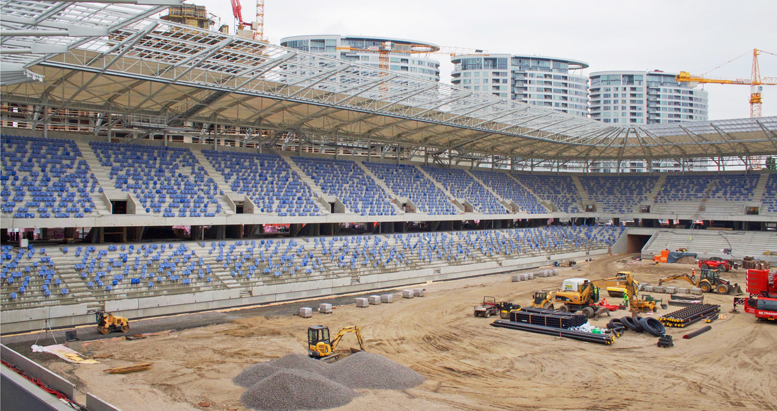 The new national stadium in Slovakia consists entirely of precast concrete elements manufactured with high-performance superplasticisers and release agents from MC.